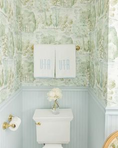 A Blue and Green Bathroom by Alexander Interiors - Katie Considers - Bathroom with blue wainscoting and green scenic Sanderson wallpaper and monogrammed Weezie towels b - Upstairs Bathrooms, Laundry In Bathroom, Dyi Bathroom, Concrete Bathroom, Master Bathrooms, Bathroom Faucets, Bathroom Storage, Bathroom Design Inspiration, Home Decor Inspiration