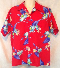 Vintage Hookano Made In Hawaii Men's Large Red Hibiscus Floral Hawaiian Shirt #Hookano #Hawaiian