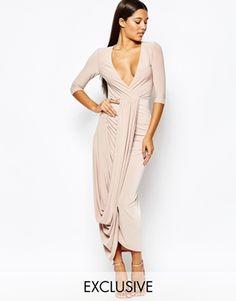 Club L Wrap front 3/4 Sleeve Dress