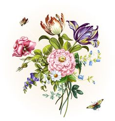 Vintage postcard with beautiful flowers ill vector  by masterflomaster on VectorStock®