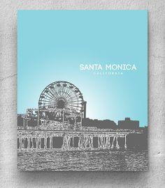 Personazlied holiday gift / Santa Monica California Cityscape Skyline / Office Art Poster Décor - Any city available