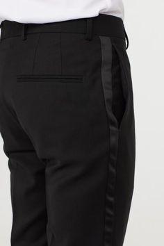 Tuxedo trousers in a wool weave with satin stripes down the sides of the legs. Black Tuxedo, Black Men, Mens Plaid Pants, Tomboy Fashion, Mens Fashion, Tuxedo Pants, Short Legs, Sherwani, Skinny Fit