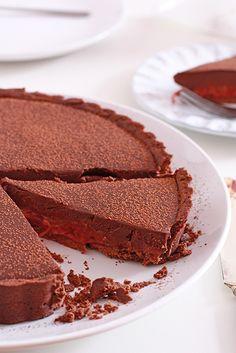 Dark chocolate and roasted rhubarb tart