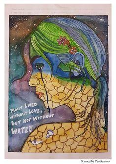 Environment Drawing Ideas, Save Environment Poster Drawing, Save Environment Posters, Save Water Poster Drawing, Environment Painting, Mandala Art Lesson, Mandala Drawing, Save Earth Drawing, Ocean Drawing