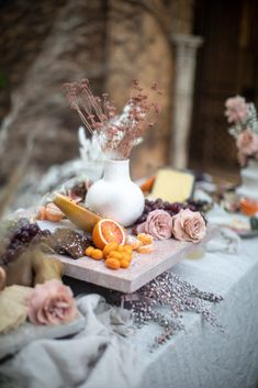 A decadent grazing table and bar inspired by languid summer celebrations, by The Lane and Eleven Events. Edible Centerpieces, Wedding Centerpieces, Wedding Table, Reception Food, Wedding Reception, Boho Wedding, Coastal Wedding Inspiration, Party Food Platters, Beach Dinner