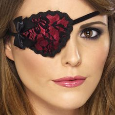 Fancy Dress Accessories Pirate Eye Patch Red with Black Lace £1.99 each