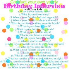 Birthday Interviews