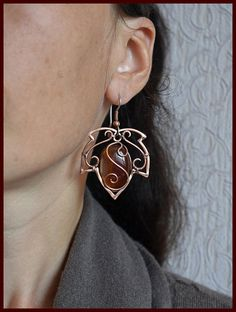 Copper wire wrapped earrings Red agate earrings Large