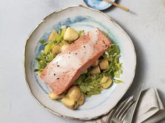 One-Pan Steamed Salmon with Leeks