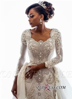 Discount 2019 Beading African Wedding Dresses Crystals Overskirts Luxury Long Sleeves Sheath Detachable Train Bridal Gowns Custom Backless Wedding Dress Expensive Wedding Dresses From Officesupply,… Crystal Wedding Dresses, Lace Mermaid Wedding Dress, Mermaid Dresses, Bridal Dresses, Wedding Gowns, Lace Dress, Bridesmaid Dresses, Prom Dresses, Lace Wedding