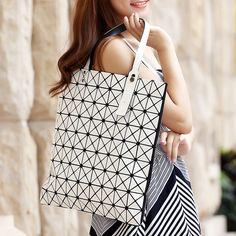NWT Bao bao women pearl bag laser sac bags Diamond Lattice Tote 9*9 geometry Quilted shoulder bag Foldable handbags with logo