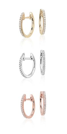 Brilliant pavé diamonds adorn these petite huggie hoop earrings. A versatile look for evening or everyday wear.