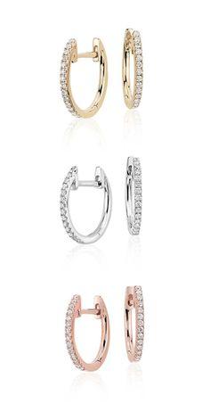 Pee Diamond Huggie Hoop Earrings In 14k Rose Gold 1 10 Ct Tw