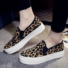bbf39a4d4fd Animal Print Canvas Flat Heel Shoes