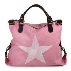 mynewbag.de - #IO.IO.MIO. Ital Damentasche Leder Canvas Mix großer #Shopper #Stern rosa