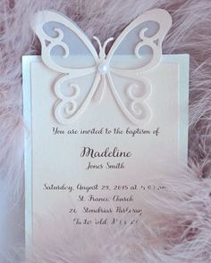 Items similar to 10 Baptism Invitations, Baby Shower Invitation, Handmade Invitation, Butterfly Invitation,Cute Girl Baby Shower Invite on Etsy Baby Shower Invites For Girl, Girl Shower, Baby Shower Invitations, Party Invitations, Butterfly Party, Butterfly Wedding, Butterfly Invitations, Baby Girl Baptism, Handmade Invitations