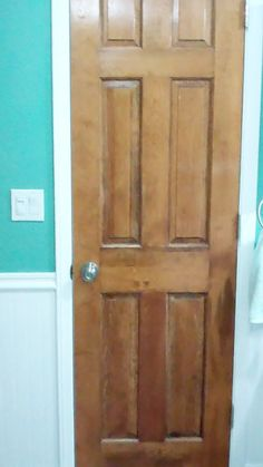 stripped and refinished solid wood door, looks much better in person, camera seems to have made it look faded.