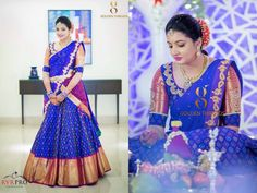 17 Ikkat Gowns And Lehengas We Recently Fell In Love With Half Saree Designs, Pattu Saree Blouse Designs, Lehenga Designs, Half Saree Lehenga, Bridal Lehenga, Half Saree Function, Pink Half Sarees, Ikkat Dresses, Blouse Back Neck Designs