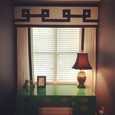 greek key drapes with valance, kelly green campaign desk. Window Coverings, Window Treatments, Curtains With Blinds, Valances, Cornice Design, Interior Windows, Window Dressings, Window Styles, Curtain Designs