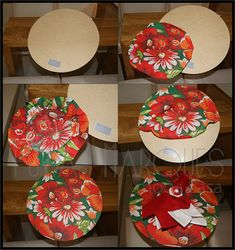 need 15 in red and 15 in green.pick the material for plates rimmed in silver Diy Crafts To Sell, Diy Crafts For Kids, Arts And Crafts, Sewing Projects, Projects To Try, Deco Table, Mug Rugs, Diy Party, Decoupage