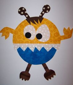 Fabric Applique TEMPLATE ONLY Crunch The Mad Monster by etsykim