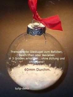 Weihnachtskugel 60mm, Glas transparent, 12Stck.  von tulip-deko auf DaWanda.com