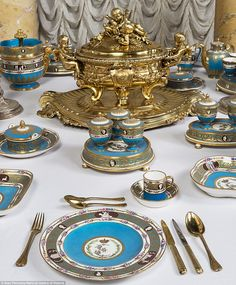 Sixty pieces from this opulent blue and gold 700-piece dinner service was bought in 1777 by Russia's Catherine the Great are on display at the National Gallery of Victoria