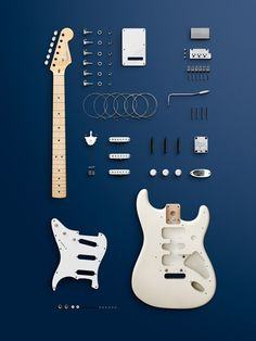Pieces of a Fender Stratocaster