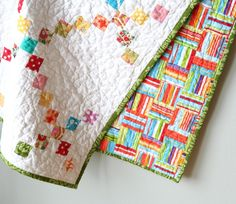 modern chain quilt-have this pattern.  great baby quilt.  uses up tiny pieces or a jelly roll would work too.