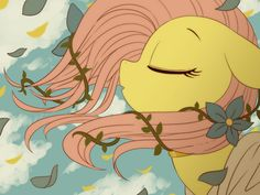 "Beautiful Fluttershy fan art. I'll admit, this reminds me of ""Colors of the Wind""."
