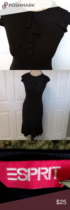 Vintage black Esprit dress with flutter sleeve Vintage pretty black dress with flutter sleeve and ruffle down front, empire waist, mermaid ruffle at bottom Esprit Dresses