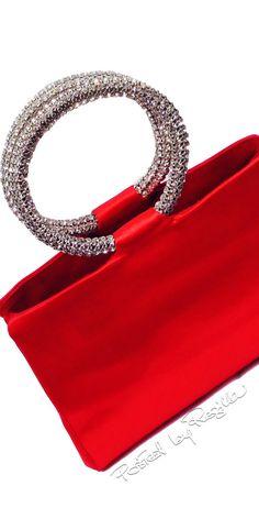 Regilla ⚜ Judith Leiber, Red Satin Evening Handbag With Swarovski Crystal