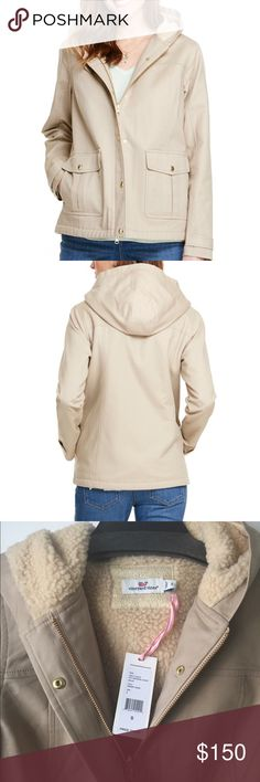Vineyard Vines city weekend jacket- desert sand You can take the girl out of the city, but…why not take a little city style on vacation with you? This comfy cotton women's jacket is perfectly tailored for your escape and for a welcome layer on cooler days.  Fabrics: · Shell: 97% cotton, 3% spandex  · Lining: 100% polyester   Features: · Sherpa lined hood and body  · Metal golden brass finishes  · 100% cotton brushed flannel lined pockets  · Front pocket detail with side entrance  · Body…