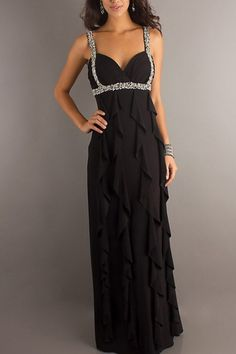 Amazing Chiffon Floor-Length Black Prom Evening Dresses