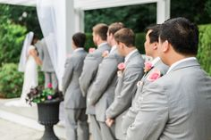Saphire Estate | Sharon, Massachusetts  •• Bride and Groom | Groomsmen Bridal Party Grey Suit | Outdoor Ceremony | New England Summer Wedding Photo | Lovely Valentine Photography