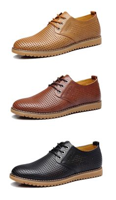 Big Size Men Leather Hollow Out British Style Breathable Casual Business Classic Lace Up Oxford Shoes