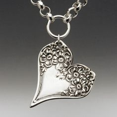 Silver Spoon Jewelry: Vintage Spoon and Fork Jewelry: Florentine Spoon Heart Necklace Silver Spoon Jewelry, Fork Jewelry, Silverware Jewelry, Silver Spoons, Heart Jewelry, Silver Ring, Silver Earrings, Cutlery, Heart Necklaces