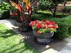 como diseñar un jardin macetas metalicas flores
