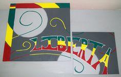 30/30  20/20  cm  lot de 2 toiles peinture acrylique aquarelle ARTISANAL
