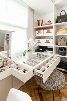 Decoração, Decoração de apartamento, Apartamento, ambiente integrado, decoração clean, quarto, closet, tapete.