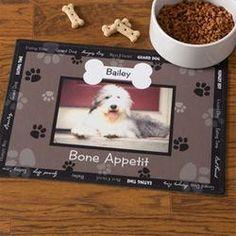 Personalized Dog Bowl Mats - Black - Throw Me A Bone