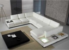 Excellence Cheap White Upholstery Italian Leather U Shaped Sofa With Square Led Lighted And Loose Boxed Seat Also Equipped Square Black Coffee Table, Stylish Modern Furniture Discount Sectional Sofas For Inspirational New Home Decors : Furniture, Living Room