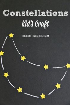 Constellations Kid Craft Constellations Kid's Craft - Space week activities<br> Constellation Kids Craft on The Crafting Chicks. A fun craft for kids during Space week! Space Preschool, Space Activities, Preschool Activities, Craft Space, Toddler Preschool, Constellations, Constellation Craft, Solar System Crafts, Outer Space Theme