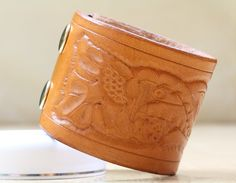 Hand Carved Leather Bracelet  Floral Leather by TinasLeatherCrafts. Repin To Remember.