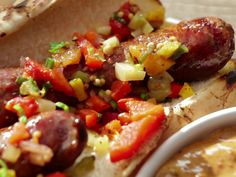 Smoked Sausage with BBQ Remoulade and Green Tomato Chowchow Relish recipe from Bobby Flay via Food Network