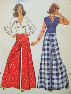 Vintage Simplicity 5575 Sewing Pattern, 1970s Pant Pattern, Palazzo Pants, Surplice Blouse Pattern, Bust 36, Wide Legged Pants, 1970s Sewing by sewbettyanddot on Etsy