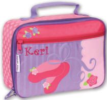 A cute Stephen Joseph lunch box for your prima ballerina. Send your little girl off to school with a lunch box she'll be proud to carry and will want to take to school every day. Lunch boxes may be ordered with or without an embroidered name, monogram or initials. Measures 10in. wide, 7 1/2in. high and 3 1/2in. deep.  PRICE: $15.00 Personalize for $7 up to 12 letters, .60 additional letters
