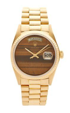Vintage Rolex 18K Gold Tiger's Eye Day-Date Watch by CMT Fine Watch and Jewelry Advisor - Moda Operandi