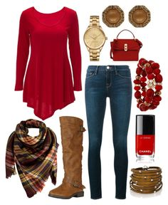 """""""Fall #3 🍁🍂"""" by mari-brown-i on Polyvore featuring Frame Denim, Peach Couture, Sif Jakobs Jewellery, Lacoste, Henri Bendel and Mixit"""