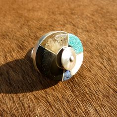 Sterling silver ring with crushed Black Jet, Turquoise, Malachite and hand carved bone and Amber http://barborarybarova.com/
